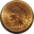 Indian Cents: , 1867/67 1C MS65 Red NGC. FS-008, Snow-1b. The 67 in the date is widely repunched north. The raised die mark on the E in CEN...