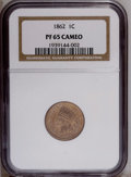 Proof Indian Cents: , 1862 1C PR65 Cameo NGC. This lovely honey-gold Gem exhibits flashy fields and an intricate strike. Luminous devices display...