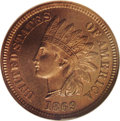 Proof Indian Cents: , 1869 1C PR65 Cameo Red and Brown NGC. This is a lovely near-Gem proof with deep orange color just beginning to tone to ligh...