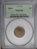 Proof Indian Cents: , 1884 1C PR67 Red and Brown PCGS. Blended olive and peach colors grace this intricately struck and unabraded Superb Gem. A f...