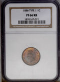Proof Indian Cents: , 1886 1C Type One PR66 Red and Brown NGC. This exquisitely struck premium Gem is undisturbed by contact, and is delightfully...