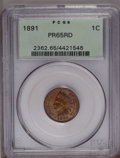 Proof Indian Cents: , 1891 1C PR65 Red PCGS. Snow-1. Dusky orange-red fields are accompanied by hints of olive color on the devices. A nicely str...