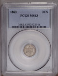 Three Cent Silver: , 1863 3CS MS63 PCGS. Wispy tan toning visits this crisply struck andmildly prooflike Civil War example. A few faint slide m...