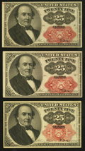 Fractional Currency:Fifth Issue, 25¢ Fifth Issue Pieces.. ... (Total: 3 notes)