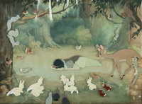 Snow White and the Seven Dwarfs Snow White and Forest Animals Production Cel Setup and Key Master Background (Walt Dis...