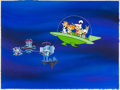 Animation Art:Presentation Cel, The Jetsons/Jetsons: The Movie Publicity Cel and Hand-Painted Production Background Setup (Hanna-Barbera, 1985/90)....
