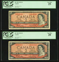 Canadian Currency: , BC-38b $2 1954, Two Examples. ... (Total: 2 notes)
