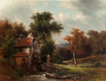 Fine Art - Painting, European:Modern  (1900 1949)  , Friedrich Wilhelm Schreiner (German, 1836-1936). The Mill.Oil on canvas. 40-1/2 x 50-1/2 inches (102.9 x 128.3 cm). Sig...