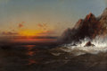 Fine Art - Painting, American:Antique  (Pre 1900), James Hamilton (American, 1819-1878). On the Coast of Wales,Sunset, 1865. Oil on canvas. 33-1/2 x 52 inches (85.1 x 132...