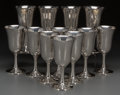 Silver Holloware, American:Cups, A Set of Twelve Wallace Silver Wine Goblets, Wallingford,Connecticut, circa 1950. Marks: WALLACE, STERLING, 14. 6-3/4i... (Total: 12 Items)