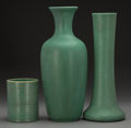 Ceramics & Porcelain, American:Modern  (1900 1949)  , A Group of Three Teco Pottery Vases, Crystal Lake, Illinois, circa1910. Marks to each: (double stamped) TECO. 14-1/2 in...(Total: 3 Items)