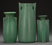 A Group of Three Teco Pottery Buttressed Vases, Crystal Lake, Illinois, circa 1910 Marks to each: (double stamped)