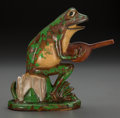 Ceramics & Porcelain, American:Modern  (1900 1949)  , A Weller Coppertone Ceramic Garden Ornament: Frog withBanjo, Zanesville, Ohio, circa 1925. Marks: WellerPott...