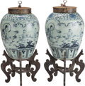 Asian:Chinese, A Pair of Large Chinese Blue and White Porcelain Tea Jars withStands. 24 inches high (61.0 cm) (without stand). ... (Total: 4Items)