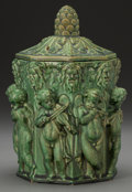 Ceramics & Porcelain, American:Modern  (1900 1949)  , A Wheatley Dark Green Glazed Earthenware Figural Covered Jar,Cincinnati, Ohio, circa 1912. Marks: 528. 10 inches high(...