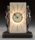 Timepieces:Clocks, A Frankart Patinated Metal and Frosted Glass Figural IlluminatedMantel Clock, New York, New York, circa 1930. Marks: FRAN...