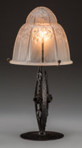Art Glass:Other , A French Art Deco Wrought Iron and Frosted Glass Boudoir Lamp,circa 1925. Marks: (label to the underside). 16-1/2 inches hi...