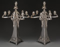 Silver Holloware, Continental:Holloware, A Pair of WMF Art Nouveau Seven-Light Silver-Plated Candelabra,Geislingen, Germany, circa 1890-1910. Marks: WMF, EP, I/0...(Total: 2 Items)