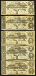 Confederate Notes:Group Lots, T60 $5 1863 PF-4 Cr. 450 (4); PF-UNL.. ... (Total: 5 notes)