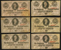 Confederate Notes:Group Lots, T63 50 Cents 1863 Six Examples.. ... (Total: 6 notes)