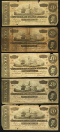 Confederate Notes:Group Lots, T67 $20 1864 Five Examples.. ... (Total: 5 notes)