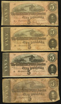 Confederate Notes:Group Lots, T69 $5 1864 Four Examples.. ... (Total: 4 notes)