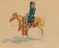 American Indian Art, Joe de Yong (American, 1894-1975): Watercolor Cowboy Image,Horse and Rider, by Russell's Protégé....