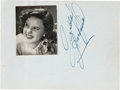 Movie/TV Memorabilia:Autographs and Signed Items, A Judy Garland Bold Signature, Circa 1940....