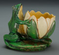 Ceramics & Porcelain, American:Modern  (1900 1949)  , A Weller Coppertone Ceramic Frog and Lily Pad Cabinet Vase,Zanesville, Ohio, circa 1925. Marks: WELLER, POTTE...