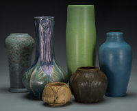 A Group of Six Van Briggle Pottery Vases, Colorado Springs, Colorado, circa 1905-1910 Marks to all: (square-AA), &lt...