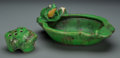 Ceramics & Porcelain, American:Modern  (1900 1949)  , A Weller Coppertone Ceramic Pond Motif Bowl with Frog, Zanesville,Ohio, circa 1925. Marks: WELLER POTTERY. 11 inches lo...(Total: 2 Items)