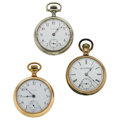 Timepieces:Pocket (post 1900), Two Elgin's & One Waltham 18 Size Pocket Watches. ... (Total: 3Items)