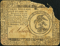 Continental Currency February 26, 1777 $3 Fine