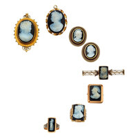 Victorian Hardstone Cameo, Seed Pearl, Gold Jewelry