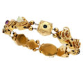 Estate Jewelry:Bracelets, Multi-Stone, Diamond, Enamel, Gold Bracelet. ...