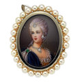 Estate Jewelry:Pendants and Lockets, Cultured Pearl, Diamond, Emerald, Painted Portrait, GoldPendant-Brooch. ...