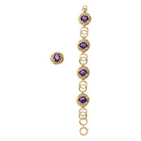 Retro Amethyst, Gold Jewelry Suite