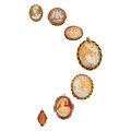 Estate Jewelry:Lots, Shell Cameo, Coral, Diamond, Gold, Silver, Base Metal Cameo Jewelry. ... (Total: 7 Items)