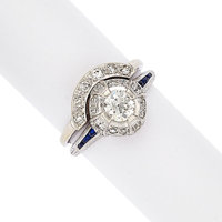 Art Deco Diamond, Sapphire, Platinum, White Gold Ring Set