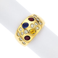 Diamond, Multi-Stone, Gold Ring