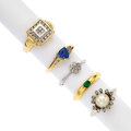 Estate Jewelry:Rings, Diamond, Sapphire, Emerald, Cultured Pearl, Gold Rings. ... (Total:5 Items)