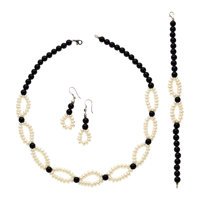Cultured Pearl, Black Onyx, Sterling Silver Jewelry Suite