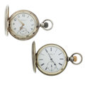 Timepieces:Pocket (pre 1900) , Sterling & Base Metal Hunter Case Pocket Watches Runners. ...(Total: 2 Items)