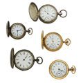 Timepieces:Pocket (post 1900), Five Lady's Hunter Case Pocket Watches. ... (Total: 5 Items)