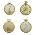 Timepieces:Pocket (post 1900), Three Hamilton's & One Elgin 12 Size Pocket Watches. ... (Total: 4 Items)