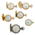 Timepieces:Pocket (post 1900), Six Lady's Pocket Watches Two Are Gold Runners. ... (Total: 6 Items)