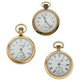 Timepieces:Pocket (post 1900), Elgin Father Time, Felt Bros & Hampden Open Face Pocket Watches. ... (Total: 3 Items)