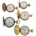 Timepieces:Pocket (post 1900), Five Pocket Watches 12 Size To 18 Sizes Hunter Cases Runners. ...(Total: 5 Items)