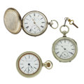 Timepieces:Pocket (pre 1900) , John Forrest Large Sterling Key Wind, Illinois 18 Size, Elgin Key Wind. ... (Total: 3 Items)