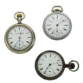 Timepieces:Pocket (post 1900), Two Waltham's (One 24-Hour Dial) & One Elgin 18 Size Pocket Watches Runners. ... (Total: 3 Items)
